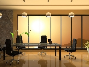 table, room, Lamps, Window, Stool, conference