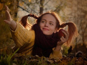 Leaf, autumn, Apple, forest, girl