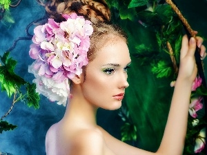 We, Women, Leaf, Garden, hair, Flowers