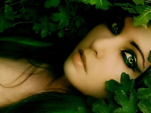 Women, Eyes, Leaf, green ones