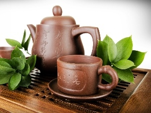 Leaf, tea, service, green ones, pottery
