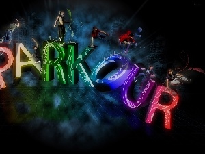 letters, People, graphics, parkour, 3D