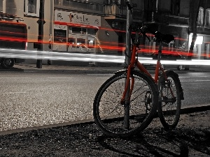 Red, evening, light, Bike