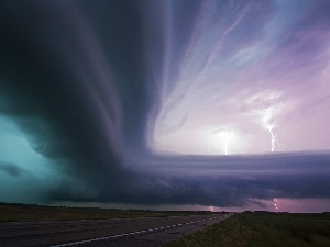 Cloud, stormy, lightning, supercell