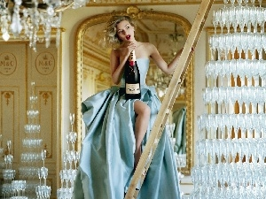 Lights, ladder, Moet Chandon, Women, Champagne