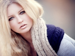 Blonde, delicate, make-up, Scarf
