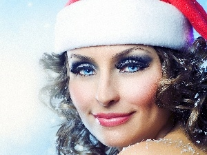 make-up, Hat, Blue, Eyes, Women
