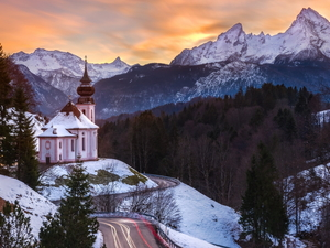 trees, woods, Bavaria, Sanctuary of Maria Gern, Germany, winter, Church, viewes, Mountains, Sunrise, Way, Berchtesgaden, Salzburg Slate Alps