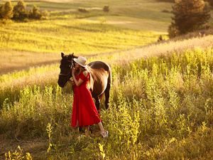 dress, Women, Horse, Meadow, Hat, red hot