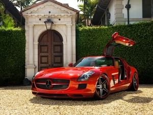 Red, Gate, hedge, Mercedes-Benz SLS AMG
