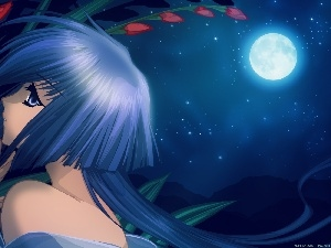 moon, girl, Flowers