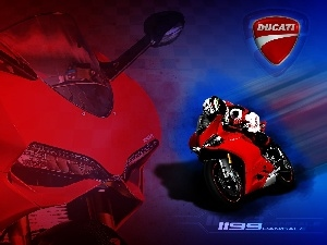 Ducati 1199 Panigale, logo, Motorcyclist, Red