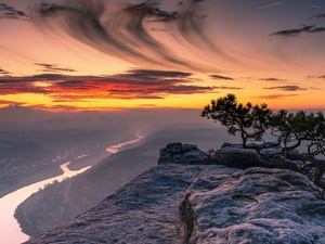 Saxon Switzerland National Park, Germany, Mountains, Lilienstein Mountain, Fog, Great Sunsets, pine, River Elbe, Rocks