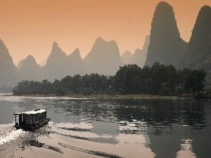 China, bath-tub, Mountains, River