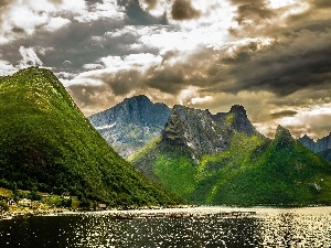 Mountains, lake, clouds