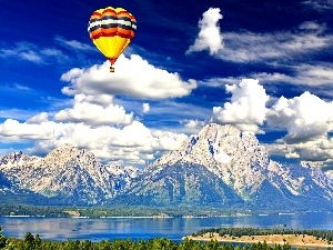 Mountains, lake, an, Heaven, Balloon