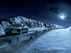 Mountains, Night, S80, winter, Volvo