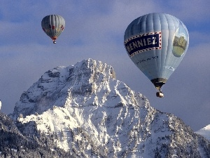Mountains, Balloons, Snowy
