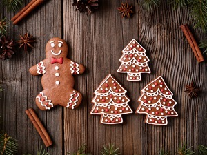 cinnamon, Christmas, M&Ms mate, Twigs, Christmas, composition, Gingerbread, cone, anise, boarding