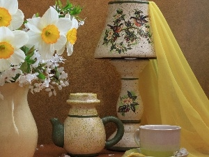 narcissus, textile, wine glass, cup, Jugs
