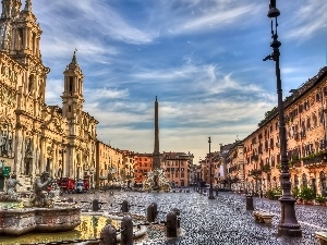 Navona Square, Italy, fountain, Monument, buildings, Rome
