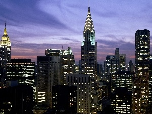 panorama, Floodlit, New York, town
