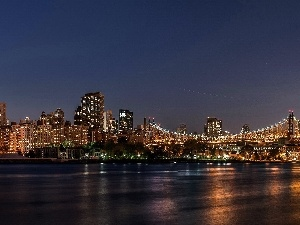 River, night, New York, Town
