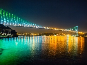 bridge, Night, Turkey, panorama, Istanbul, Floodlit, River, town