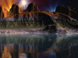 canyon, reflection, Night, lake