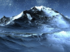 sea, Mountains, Night, Waves