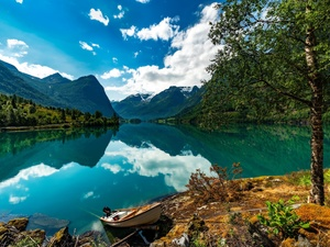 District of Sogn og Fjordane, Norway, lake, Mountains, Boat, reflection, viewes, clouds, trees