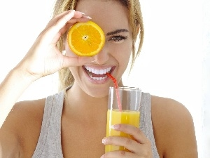 Blonde, juice, Orange, smiling