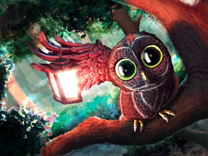 owl, lantern, Paintography, branch