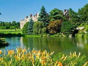 viewes, Flowers, Sandringham, trees, lake, palace, England