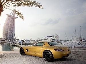 Yellow, Hotel hall, SLS, Burj Al Arab, Dubaj, Mercedes, Palm