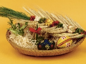 Palm, basket, eggs
