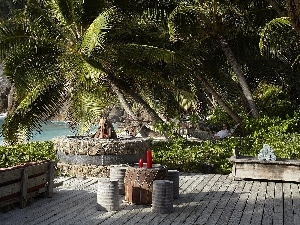 Palms, Hotel hall, rocks, Seychelles, Ocean, terrace