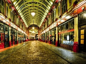 passage, London, Houses, stores, Street