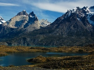 Patagonia, lake, Mountains