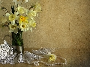 Pearl, lace, Yellow, Daffodils, Vase