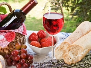 Wine, Meadow, picnic, Fruits