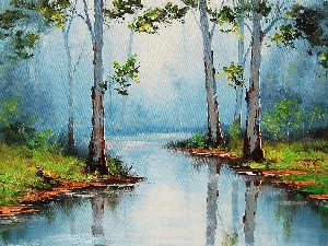 picture, River, forest