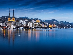 Switzerland, lake, Picture of Town, Lucerne