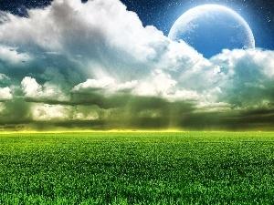 Planet, Meadow, clouds