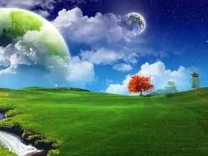 Green, Red, Planet, fantasy, Meadow, trees