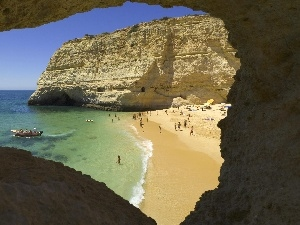 Beaches, Algarve, Portugal, boats