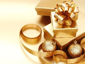 Present, Golden, baubles