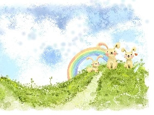 Great Rainbows, Easter, rabbits