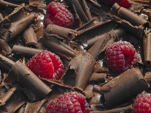 raspberries, chocolate, Chips