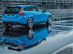 Volvo cars, puddle, reflection, V60